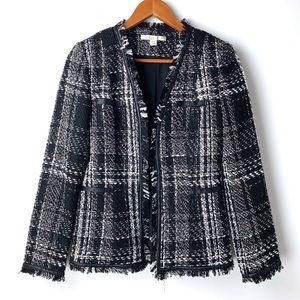 Boston Proper black & white tweed fringe blazer